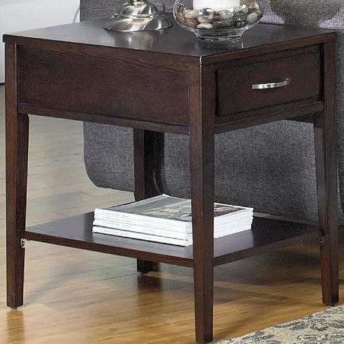Null Furniture 3012 Rectangular End Table with Drawer and Shelf