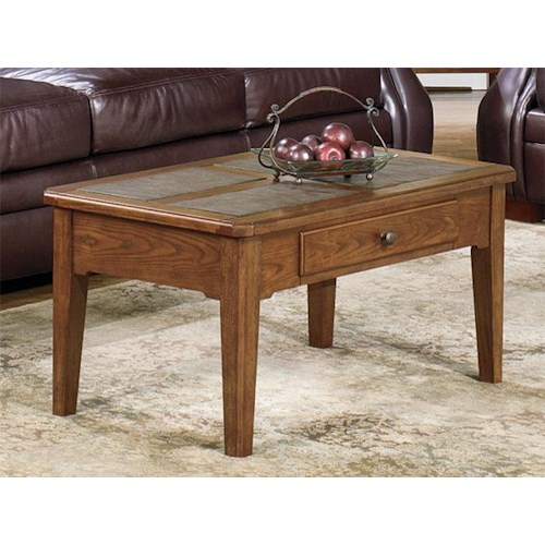 Null Furniture 4011 Table Group Rectangular Single Drawer Cocktail Table with Slate Top Inserts