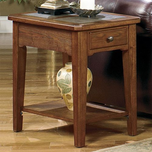 Null Furniture 4011 Table Group Rectangular Single Drawer End Table with Slate Top Inserts and Bottom Shelf