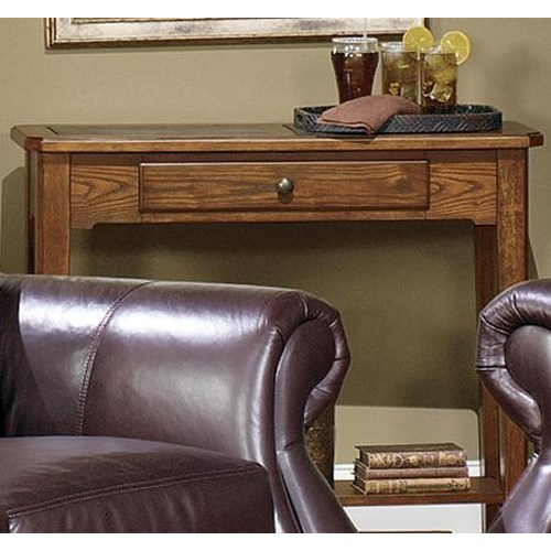 Null Furniture 4011 Table Group Rectangular Single Drawer Sofa Console with Slate Top Insert and Bottom Shelf