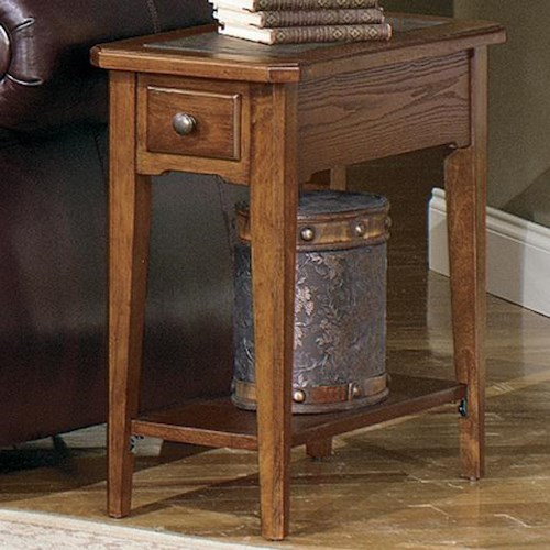 Null Furniture 4011 Table Group Rectangular Chairside End Table with Slate Top Insert and Bottom Shelf