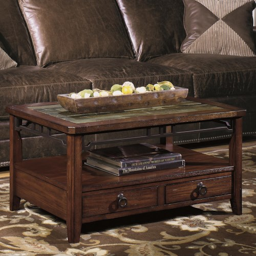 Null Furniture 5013 Rectangular Cocktail Table with Inset Stone Top