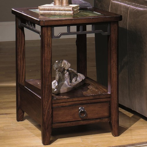 Null Furniture 5013 Rectangular End Table with Inset Stone Top