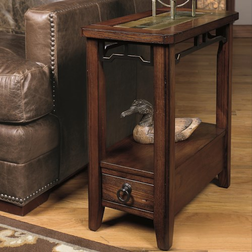 Null Furniture 5013 Chairside End Table with Inset Stone Top