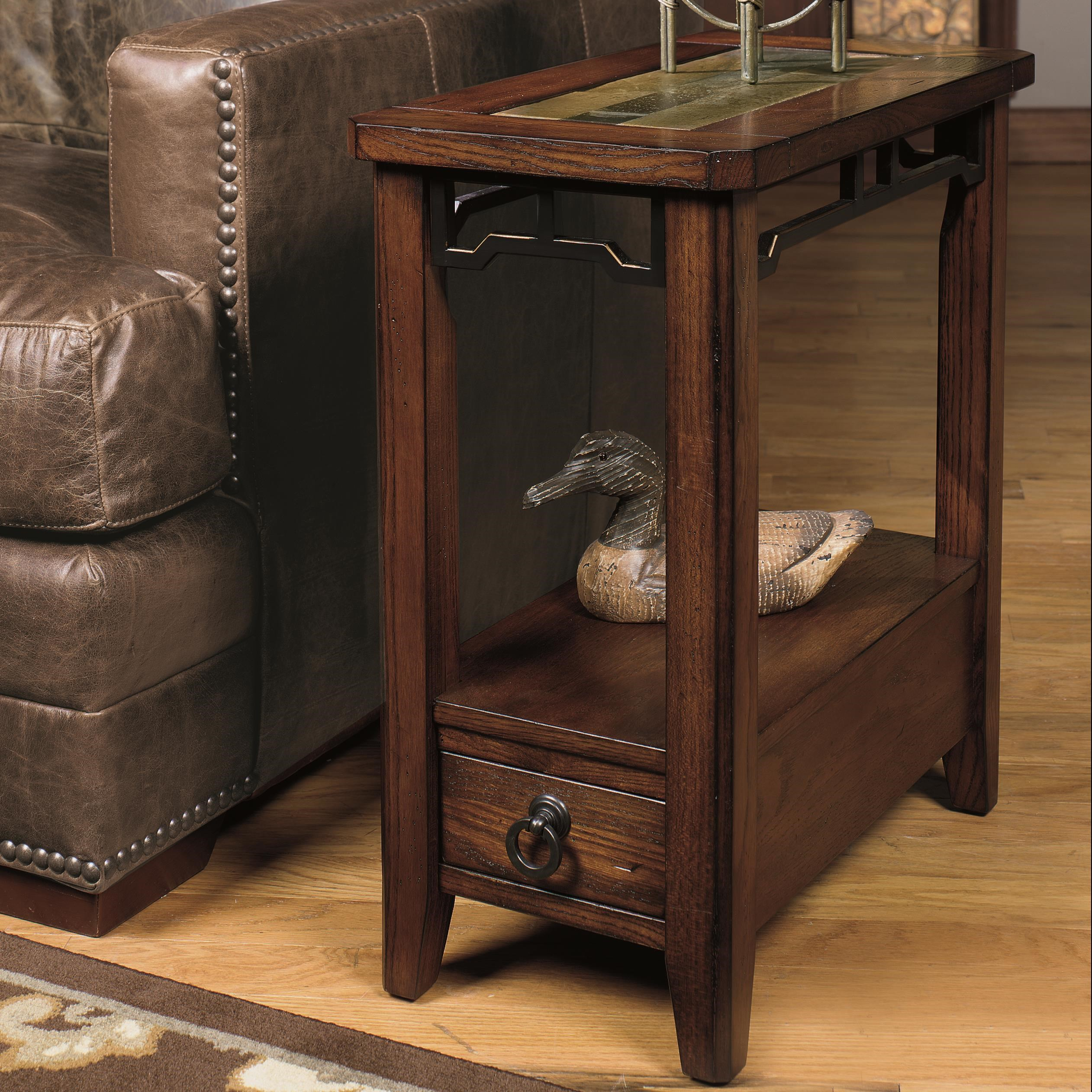 Amazing 5013 Chairside End Table With Inset Stone Top By Null Furniture