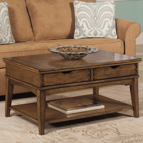 Null Furniture 7013 Rectangular Cocktail Table with 2 Tray Drawers