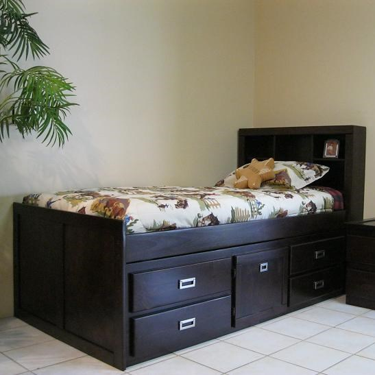 oak furniture west campus twin captain bookcase bed w/ built-in