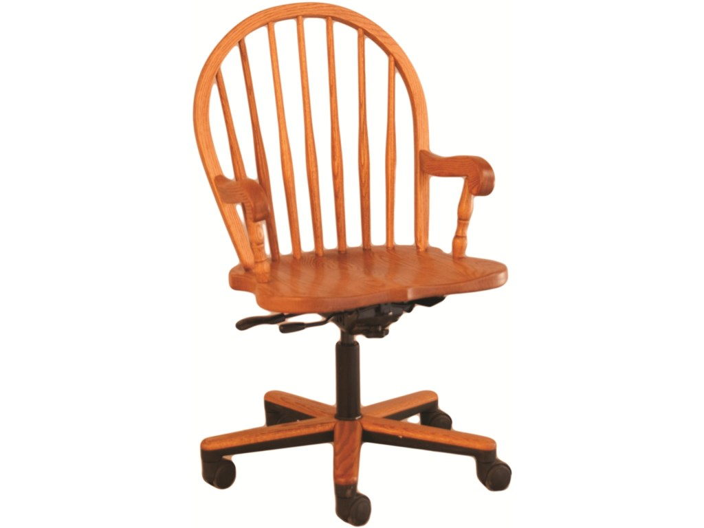 Oakwood Industries Casual DiningBow Spindle Gas Lift Arm Chair