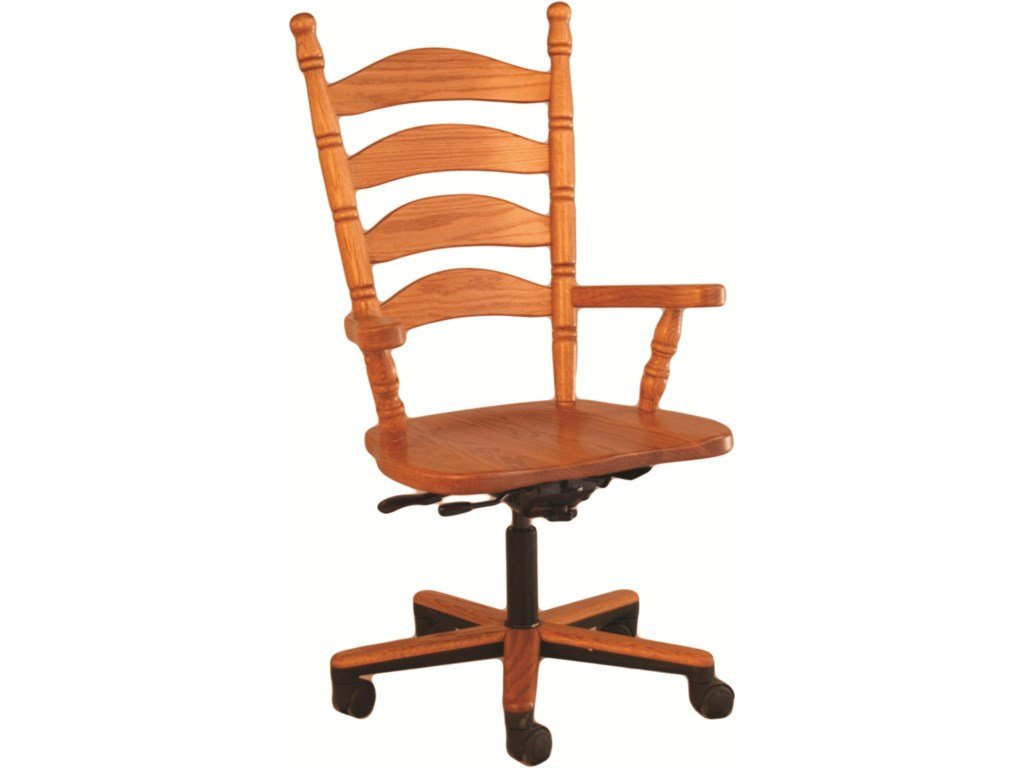 Oakwood Industries Casual DiningLadder Back Gas Lift Arm Chair