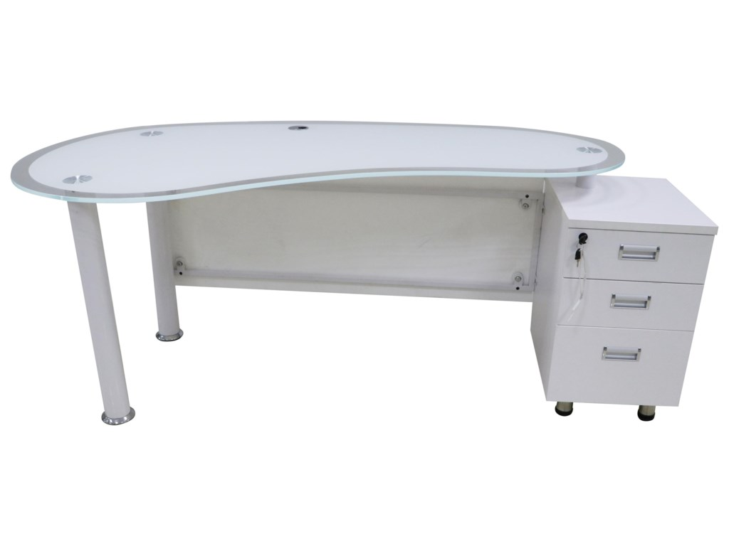 Offshore Furniture Source AvionGlass Top Desk with Storage Drawers