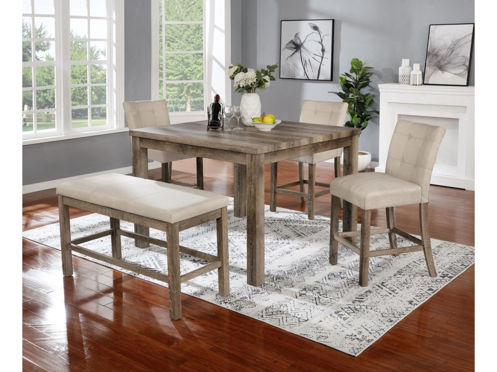 HY 5 Piece Dining Set with Bench
