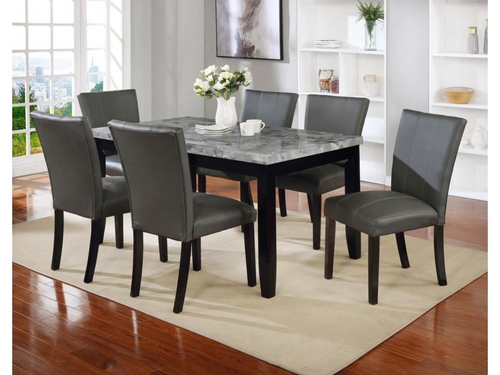 Offshore Furniture Source Petersburg Petersburgfmt Fldscx6 7 Piece Rectangular Faux Marble Dining Set Sam Levitz Furniture Dining 7 Or More Piece Sets