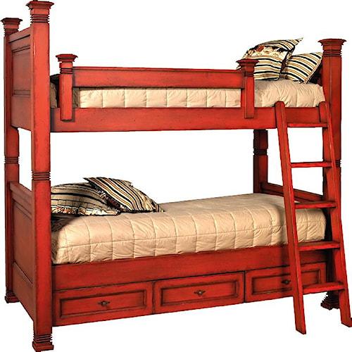 Old Biscayne Designs Custom Design Solid Wood Beds Lisette Wood Bunk Bed  with Storage - Old Biscayne Designs Custom Design Solid Wood Beds Lisette Wood