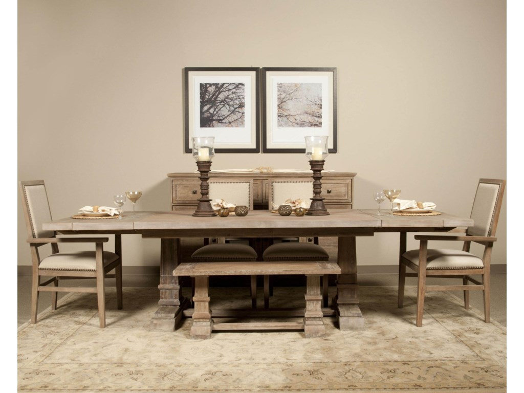 Shown in Room Setting with Table, Bench, Arm and Side Chair
