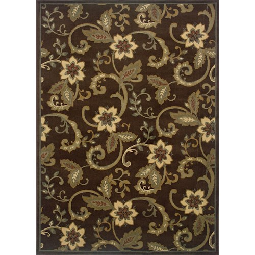 Oriental Weavers Amy Floral 5 x 7.6 Area Rug : Brown