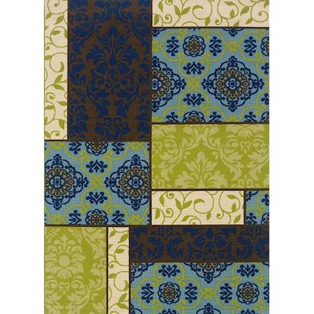 5.3 x 7.6 Area Rug : Blue/Green