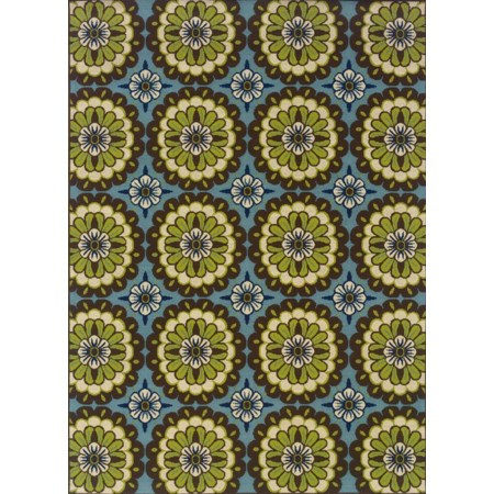 5.3 x 7.6 Area Rug : Blue/Lime