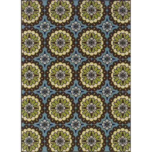 Oriental Weavers Casper 5.3 x 7.6 Area Rug : Blue/Lime