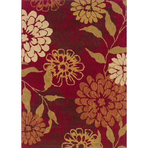 Oriental Weavers Inkus 5.3 x 7.6 Area Rug : Red