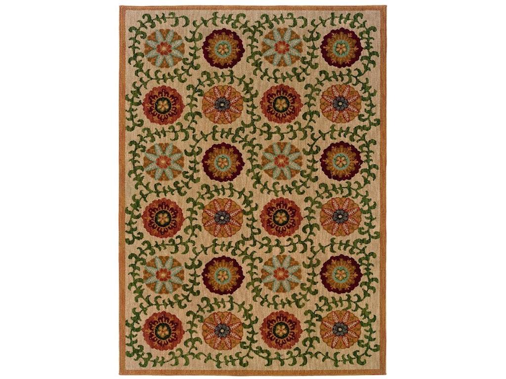 Oriental Weavers Inkus Floral10 x 13 Area Rug : Beige