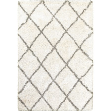"7'10"" X 10'10"" Shag Ivory/ Grey Rectangle Ru"