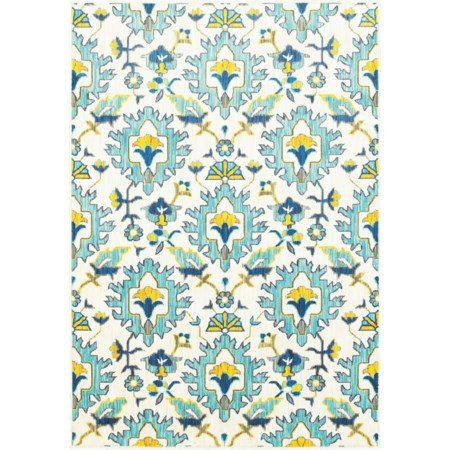 """3'10"""" X  5' 5"""" Casual Ivory/ Blue Rectangle"""