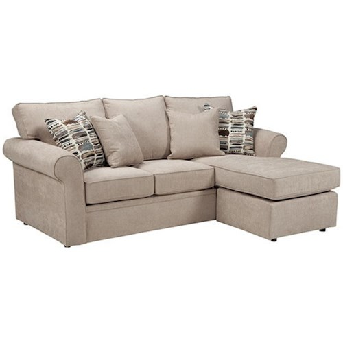 Overnight Sofa 56 Queen Sleeper Chaise with Rolled Arms