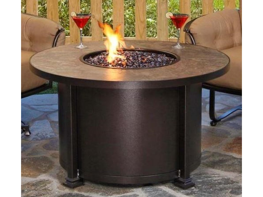O.W. Lee SantoriniChat Height Fire Pit with Pebbles and Glass