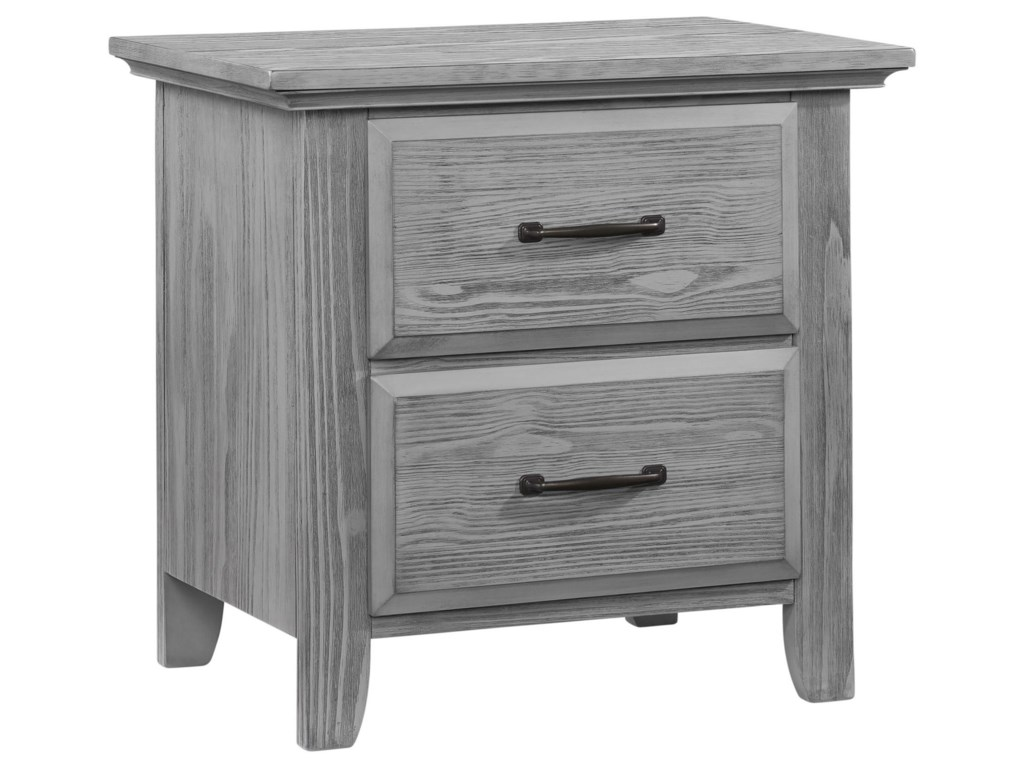 M Design Village WillowbrookGray 2 Drawer Nightstand