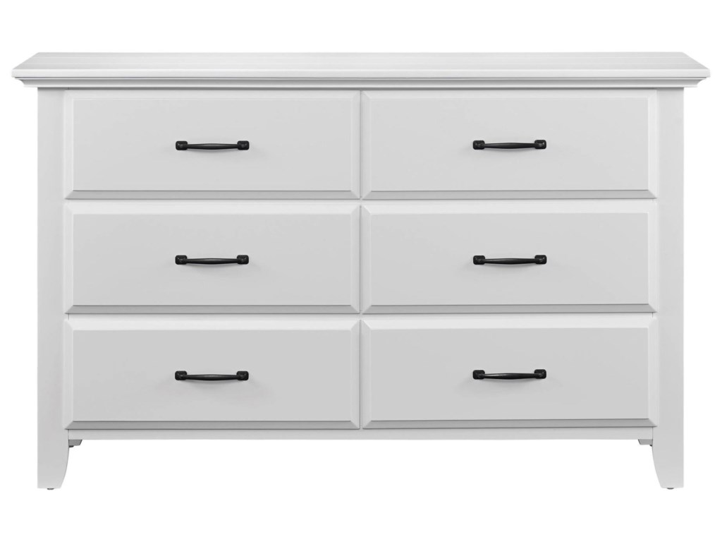 M Design Village WillowbrookWhite 6 Drawer Dresser