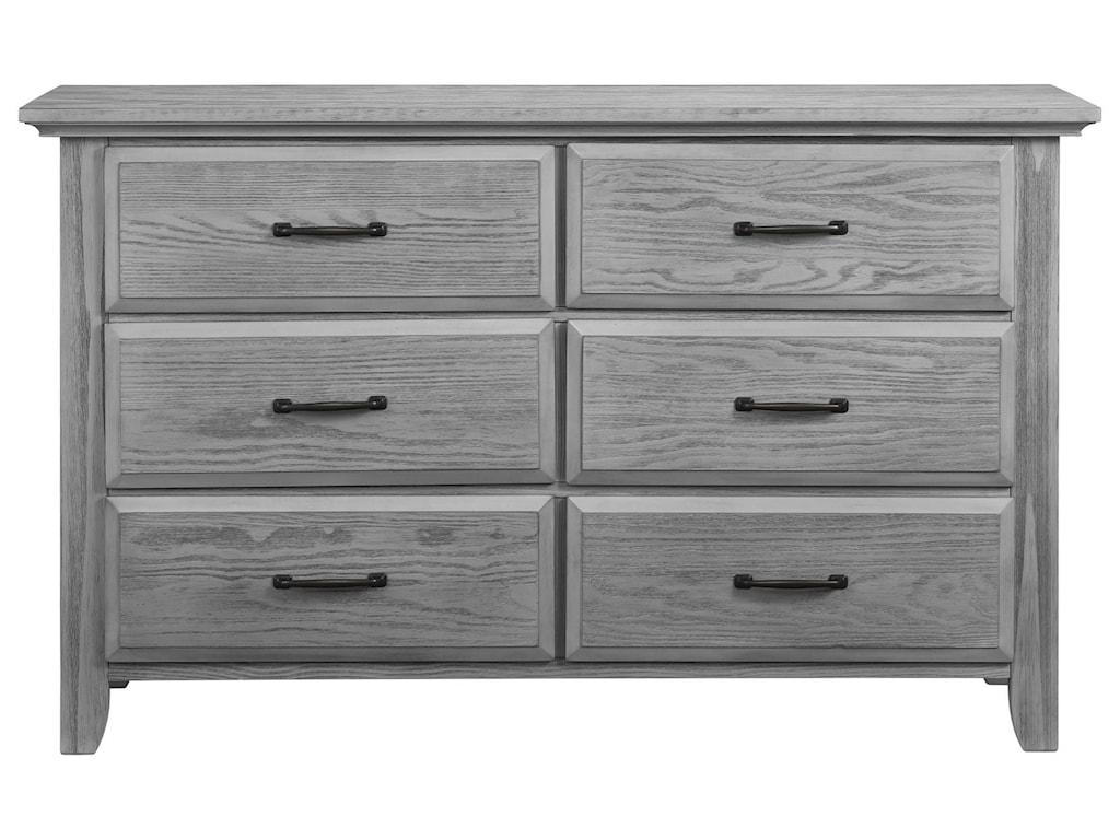 M Design Village WillowbrookGray 6 Drawer Dresser