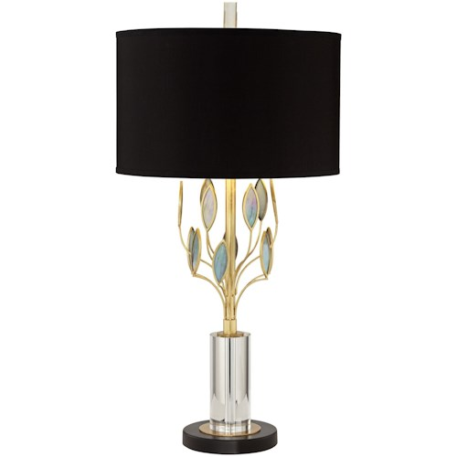 Pacific Coast Lighting Table Lamps Kig Black & Gold Leaf W/Art Glass Table Lamp