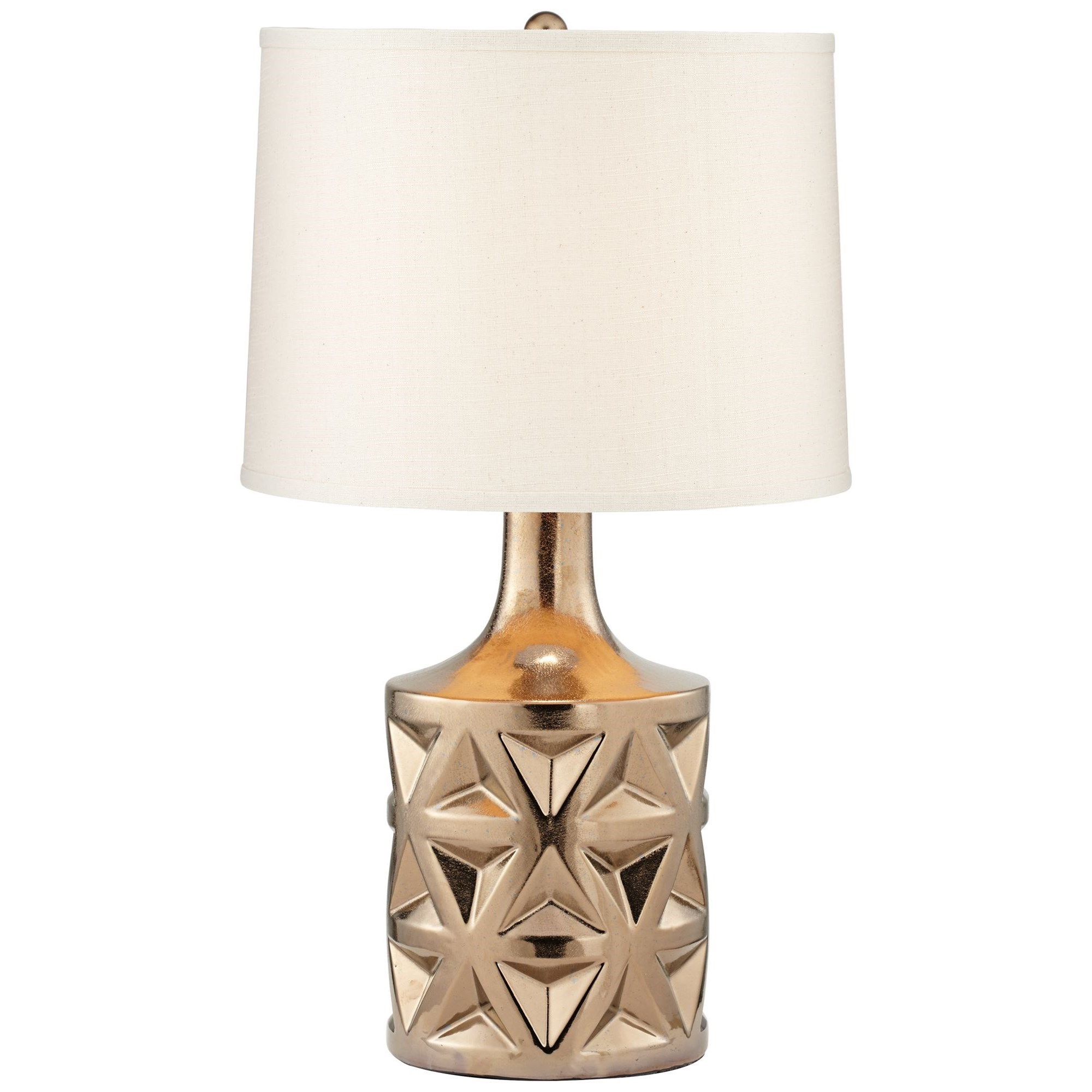 Pacific Coast Lighting Table Lamps Kathy Ireland Geo Ceramic Metallic  Bronze Table Lamp