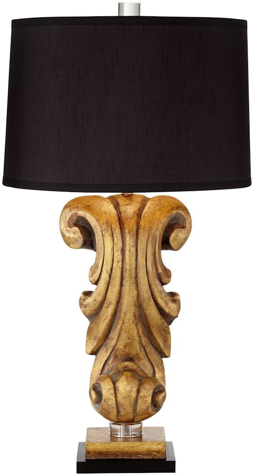 Pacific Coast Lighting Table Lamps Kathy Ireland Antique Gold Corbel Table Lamp
