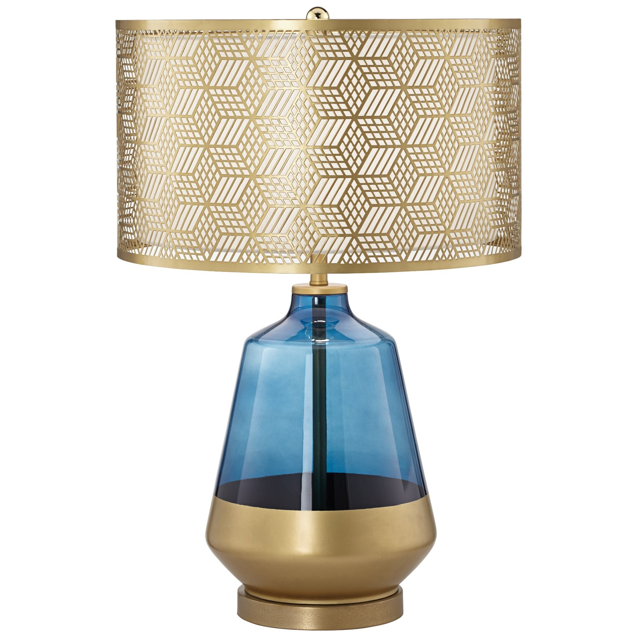 Pacific Coast Lighting Table Lamps Contemporary Taurus Table Lamp With Blue Glass Wayside Furniture Table Lamps