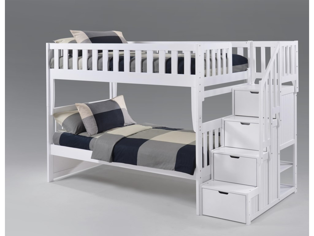 Pacific Manufacturing PeppermintTwin over Twin Stair Bunkbed
