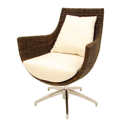 Palecek Accent Chairs by Palecek Modern High Back Rattan Swivel Chair