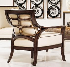 Palecek Accent Chairs by Palecek Transitional Rattan Lounge Chair with Decorative Lattice Back