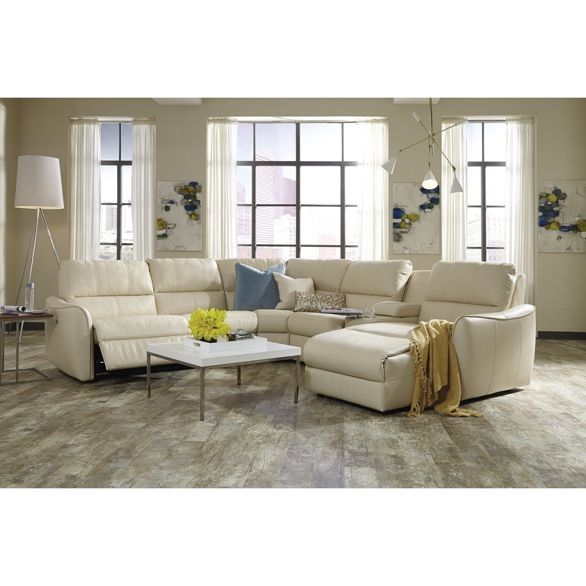 Palliser Arlo Contemporary Sectional Sofa With Chaise And Console Reeds Furniture Reclining Sectional Sofas