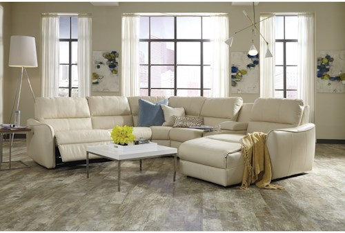 Palliser Arlo Contemporary Sectional Sofa With Chaise And Console