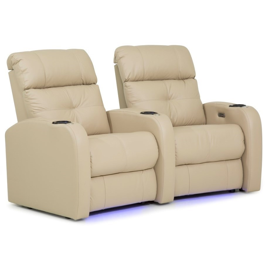 Contemporary Wall Hugger Theater Seating with Power Headrests