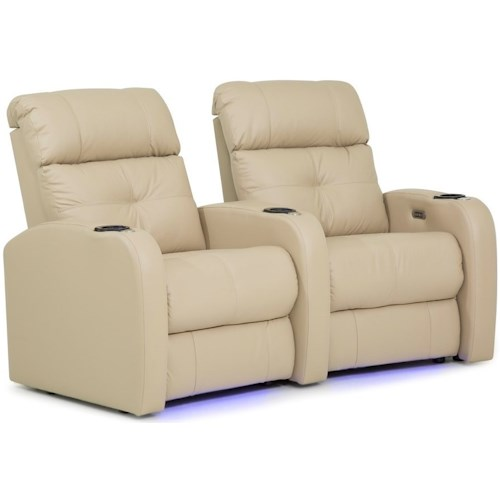 Palliser Audio Contemporary Wall Hugger Theater Seating with Power Headrests