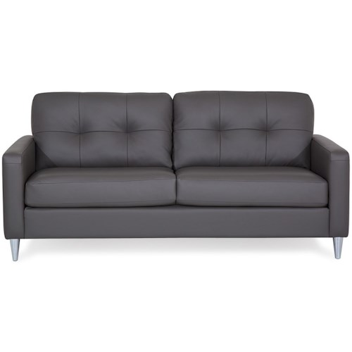 Palliser Beech Mid-Century Modern Sofa with Tufted Back