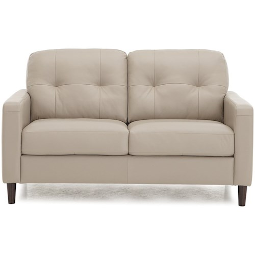 Palliser Beech Mid-Century Modern Love Seat with Tufted Back