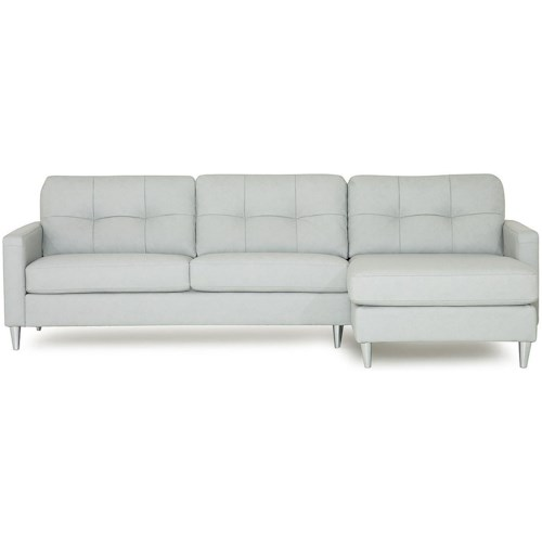Palliser Beech Mid-Century Modern Sectional Sofa with Right Arm Facing Chaise
