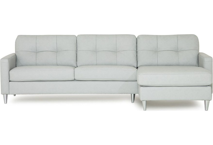 Palliser Beech Mid-Century Modern Sectional Sofa with Right ...