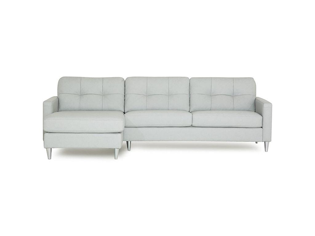 Palliser Beech Mid-Century Modern Sectional Sofa with Left ...