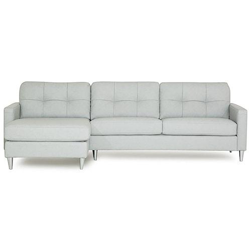 Palliser Beech Mid-Century Modern Sectional Sofa with Left Arm Facing Chaise