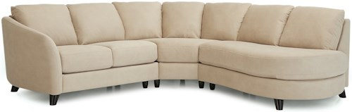 Palliser Alula 77427 Sectional Sofa with Corner Curve and Right Arm Facing Bumper