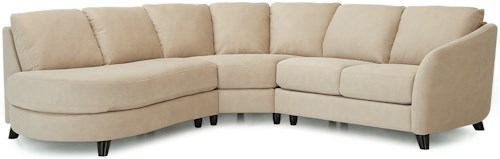 Palliser Alula 77427 Sectional Sofa with Corner Curve and Left Arm Facing Bumper